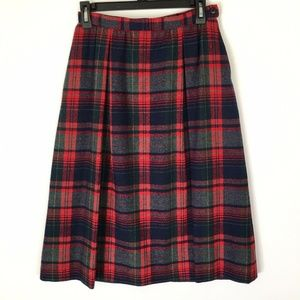 Vtg Pendleton Plaid Wool A Line Skirt Waist 25